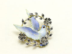 Enamel & diamond dove brooch